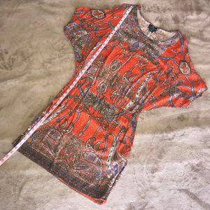 Angie Orange Paisley Print Dress Sz M/L